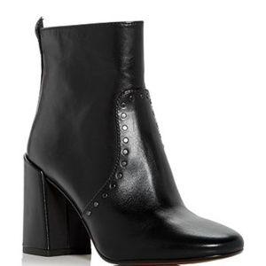 COACH Farrah Stud High Block Heel Booties in Black